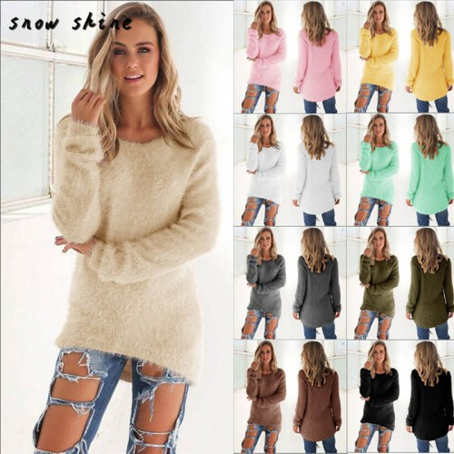 Womens Casual Solid Long Sleeve Jumper Sweaters Blouse