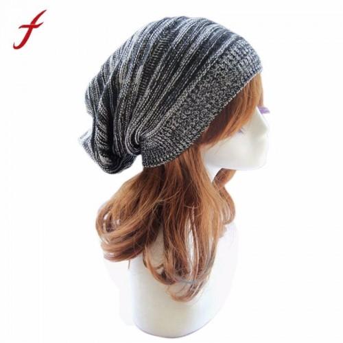 Soft Rabbit Double Knitting Thick Bonnet Beanie Caps Warm Winter Hats