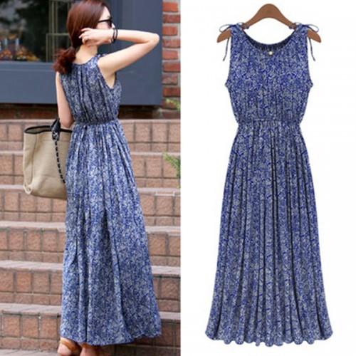 Summer Fashion Bohemia Printed Casual Sleeveless Long Dress
