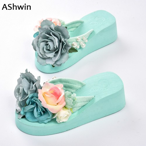 Flower Flatform Mules Clogs Wedge Handmade Pearls Slippers Jelly Color Hawaiian Sandals