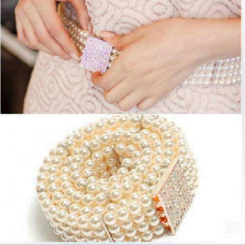 Gold Buckle Inlaying Rhinestone Pearl Elastic Belt