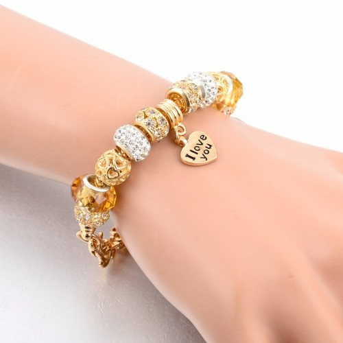 Pandora Bracelet With Heart Charms Beads Golden Silver