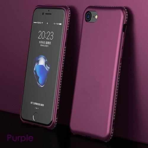 Purple MaxGear Rhinestone Silicone Case Glitter Matte Luxury Diamond Cover For iPhone