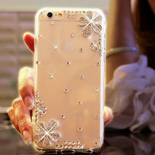 Flower Fashion Bling Crystal Pearl Rhinestone Hard Clear Case Cover Transparent For Samsung and iPhone