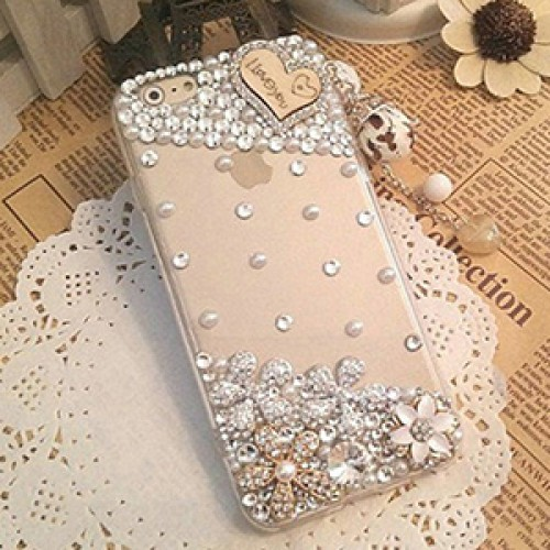 Love Fashion Bling Crystal Pearl Rhinestone Hard Clear Case Cover Transparent For Samsung and iPhone