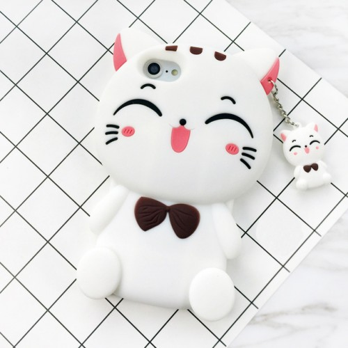Cat White 3D Soft Silicone Phone Case Cover for iPhone