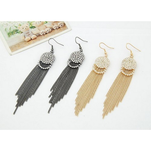 Gold Plating Crystal Tassel Earrings