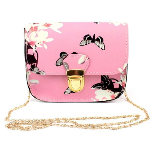 Pink Fashion Women Butterfly Flower Print Small Shoulder Bag Leather Crossbody Messenger Bag For Girls