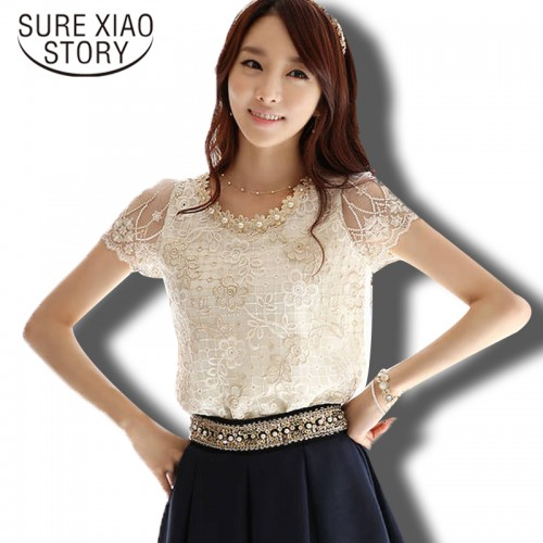 Elegant Beaded Lace Embroidered Formal Floral Top