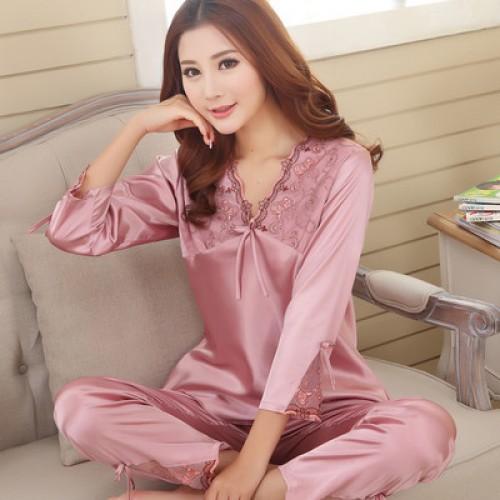 Silk Women Pajama Set for Sleepwear Nightdress Lilac