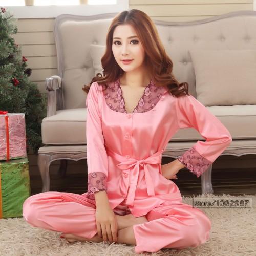 Silk Women Pajama Set for Sleepwear Nightdress Pink