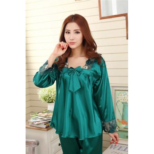 Silk Women Pajama Set for Sleepwear Nightdress Green