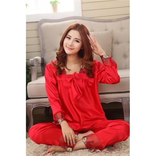 Silk Women Pajama Set for Sleepwear Nightdress Red