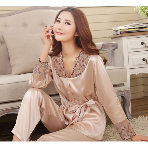 Silk Women Pajama Set for Sleepwear Nightdress Champagne Color
