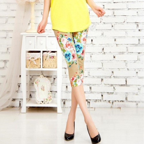 Capris Women Pants Mid Calf Leggings High Waisted Floral Printing Workout Flower Deportes Lady Trousers