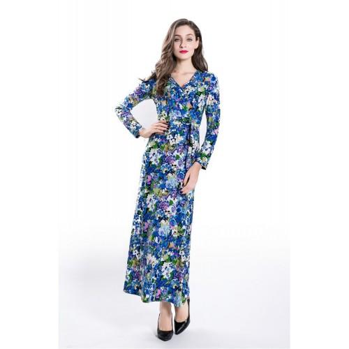 Russian Elegant Printed Long Dress