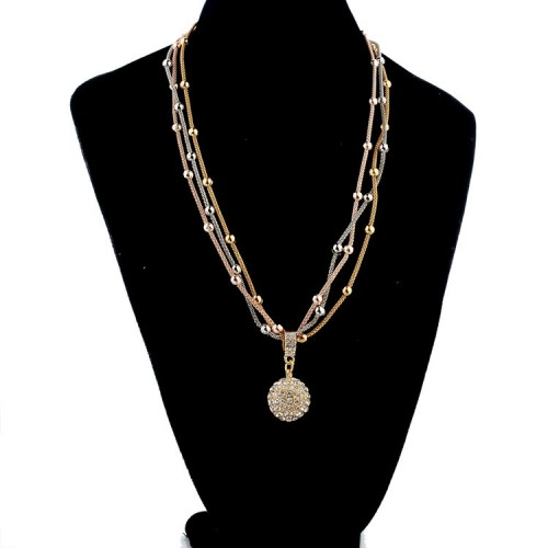 Gold Plated Necklace With Rhinestone Ball Pendant