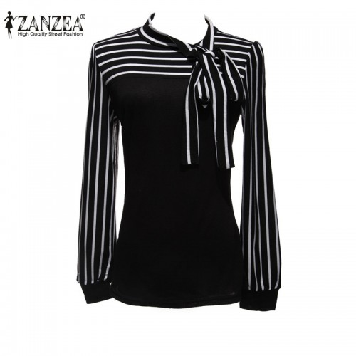 Blouse Shirt White Stripe Bowknot Long Sleeve