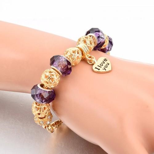 Pandora Bracelet With Heart Charms Beads Gold Purple