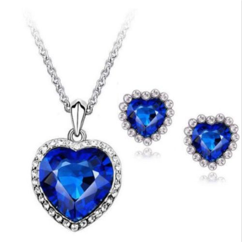 Titanic Heart Of Ocean Bling Rhinestone Jewelry Set