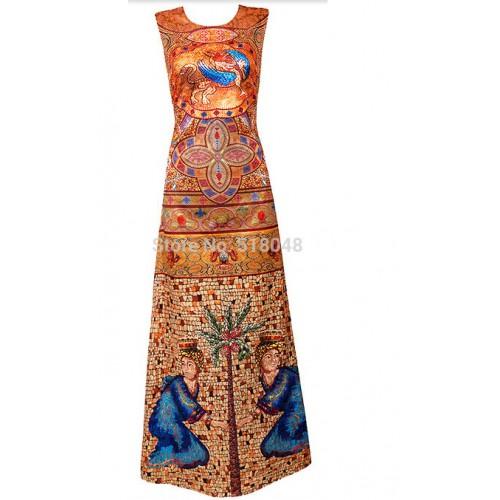 China National Style Printed Silk Skirt