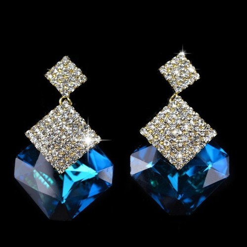 Crystal Luxury Stud Earrings Blue