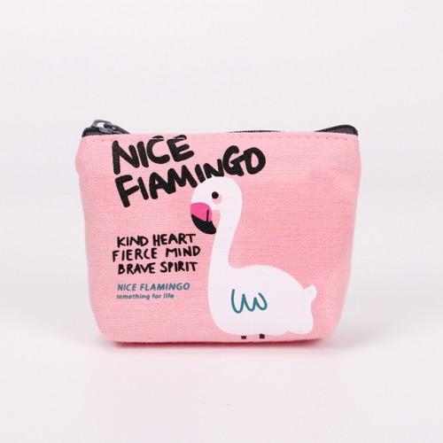 New Cute Purses Cartoon Bird Flamingos Canvas Coin Purses Wallet Zipper Card Bag