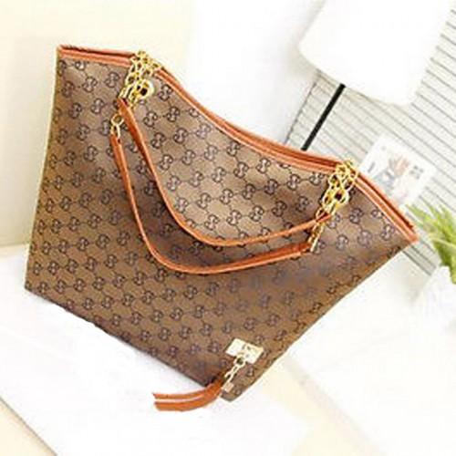 Faux Leather Shoulder Bag Brown