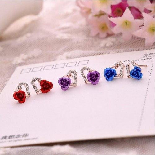 Rhinestone Heart-shaped Rose Flower Stud Earrings