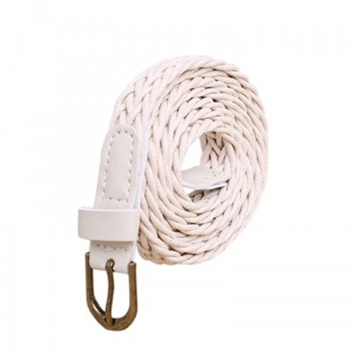 White Womens New Style Hemp Rope Braid Female Belt For Dress