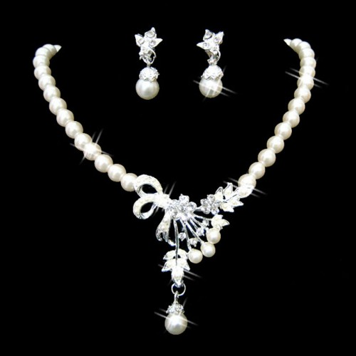 Pearl Necklace Earring Party Jewelry Set