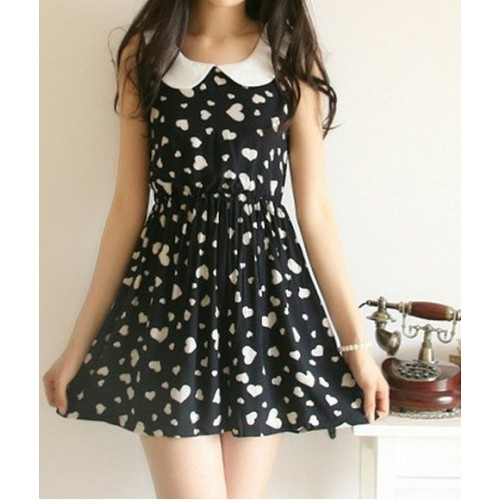 Casual Hearts Pattern Cotton Dress