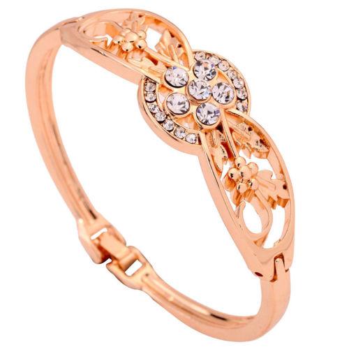 Gold Plated Carve Flower Crystal Inlay Bracelet