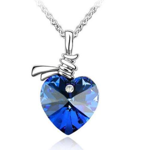 Love Heart Crystal Rhinestone Chain Necklace