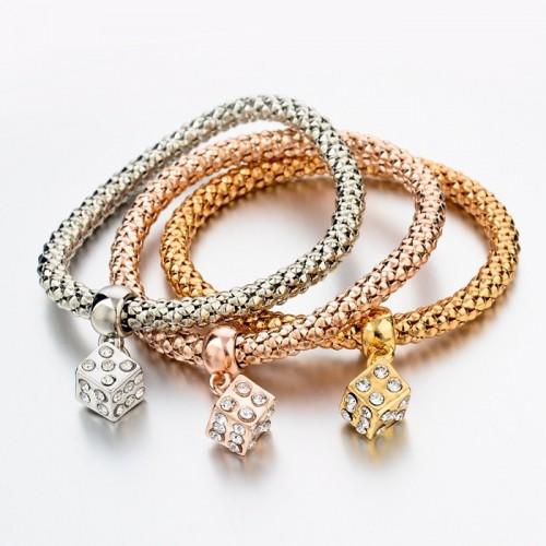 3 Pieces Fashion Bracelets Gold Hollow Charm Dice