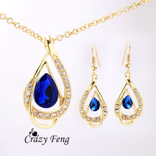 Gold Plated Ruby/White/Blue Sapphire Crystal Jewelry Set