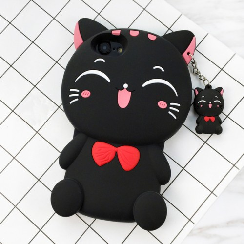 Cat Black 3D Soft Silicone Phone Case Cover For iPhone Huawei Samsung