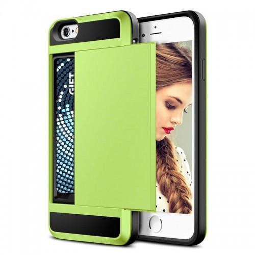 Green New Hybrid Tough Capa Case Slider Card Holder Wallet Armor Phone Back Cover