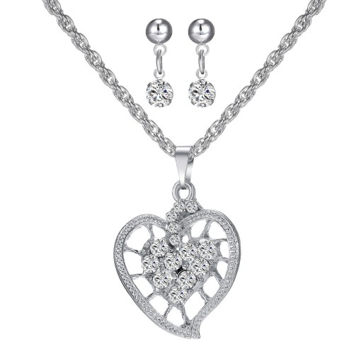 Crystal Heart Pendant Necklace & Earring Set