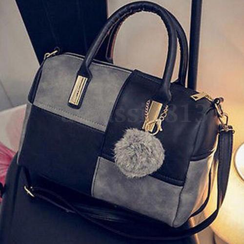 Stylish Grey N Black Leather Hand Bag