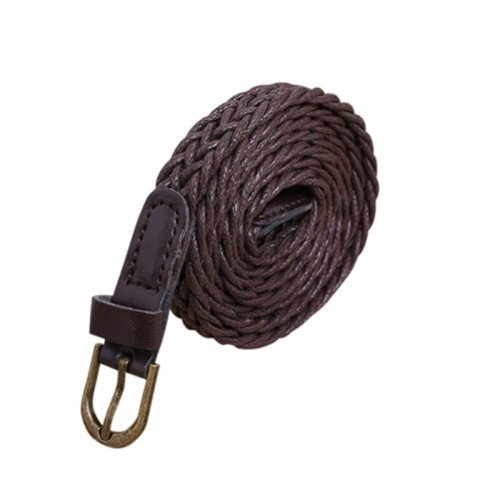 Brown Womens New Style Hemp Rope Braid Female Belt For Dress