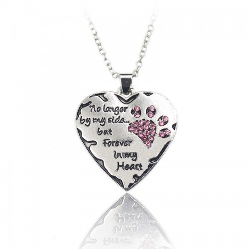 Pink White Silver Crystal Cats Dogs Paws Claw Print & Heart Necklace