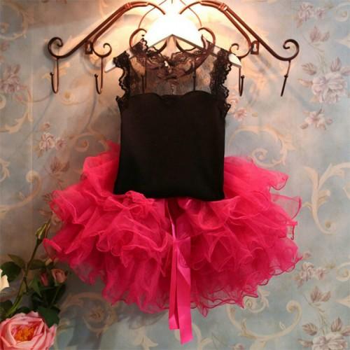 Black Lace Top N Rose Tuffle Skirt