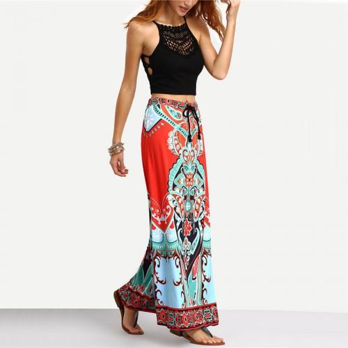 Long Maxi Multicolor Vintage Print Tassel Skirt