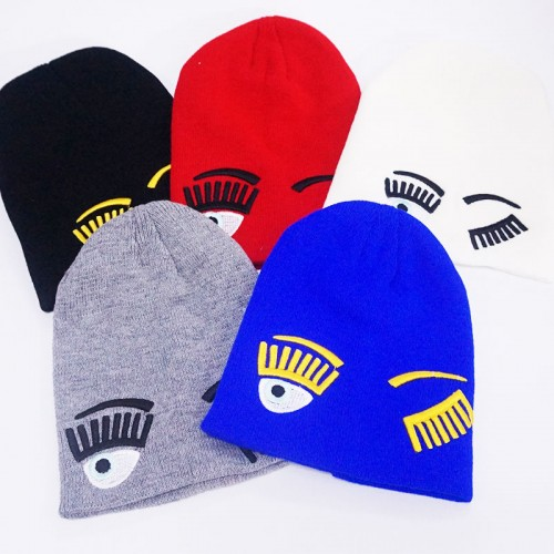 Wink Eye Style Knitted Cap In Five Colors