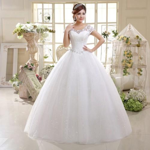Double Shoulders Lace Up Bridal Gown