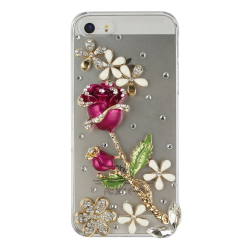 Red Rose Fashion Bling Crystal Pearl Rhinestone Hard Clear Case Cover Transparent For Samsung and iPhone
