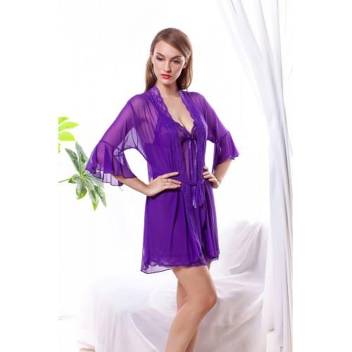 Purple Lingerie Lace gown sleepwear suit