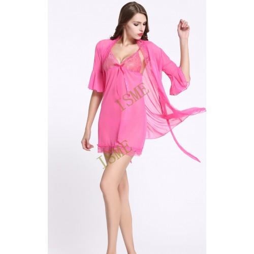 Pink Lingerie Lace gown sleepwear suit