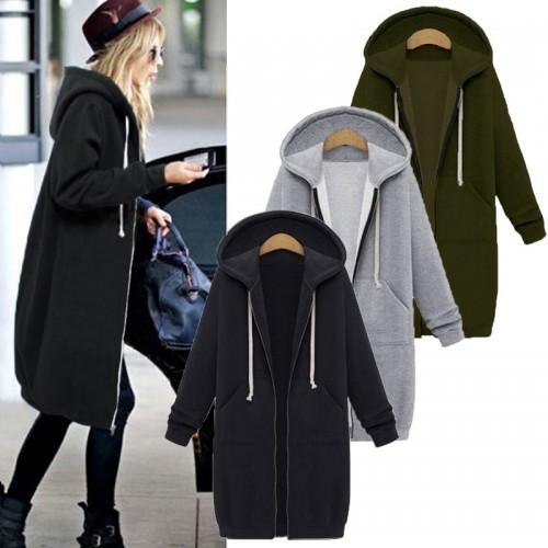 Long Sleeve Hooded Warm Long Jacket